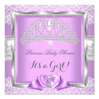 Princess Baby Shower Girl Lavender Silver Lace Card