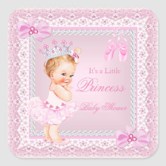 Princess Baby Shower Girl Pink Ballerina Blonde Square Sticker