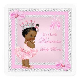 Princess Baby Shower Girl Pink Ballerina Ethnic 13 Cm X 13 Cm Square Invitation Card
