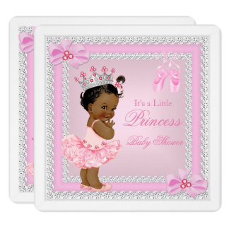 Princess Baby Shower Girl Pink Ballerina Ethnic Card