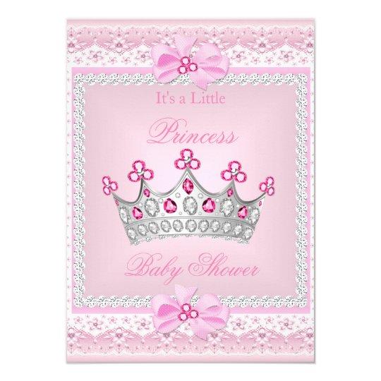 Princess Baby Shower Girl Pink Gem Silver Tiara