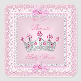 Princess Baby Shower Girl Pink Gem Silver Tiara Square Sticker