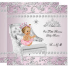 Princess Baby Shower Girl Pink Silver Chair blonde Card