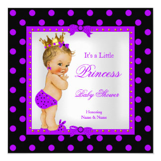 Princess Baby Shower Girl Purple Blonde 13 Cm X 13 Cm Square Invitation Card