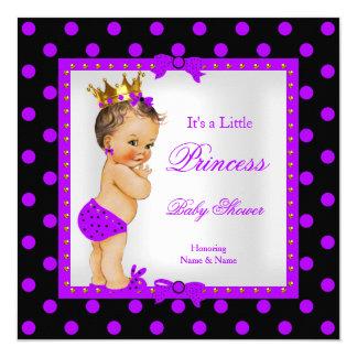 Princess Baby Shower Girl Purple Brunette 13 Cm X 13 Cm Square Invitation Card