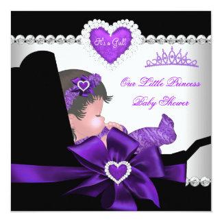 Princess Baby Shower Girl Purple Diamond Hearts Card