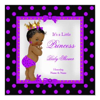Princess Baby Shower Girl Purple Ethnic 13 Cm X 13 Cm Square Invitation Card