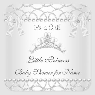 Princess Baby Shower Girl Silver White Tiara 2 Square Sticker