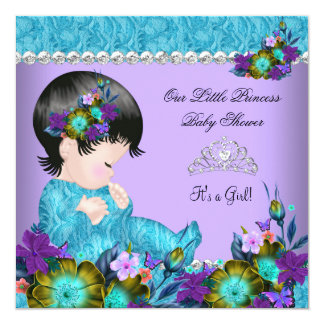 Princess Baby Shower Girl Teal Blue Purple 2 Card