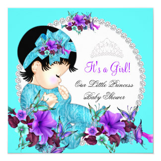 Princess Baby Shower Girl Teal Blue Purple D2 13 Cm X 13 Cm Square Invitation Card