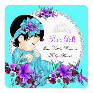 Princess Baby Shower Girl Teal Blue Purple D2 5.25x5.25 Square Paper Invitation Card