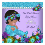 Princess Baby Shower Girl Teal Blue Purple Personalized Announcement