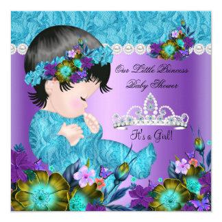 Princess Baby Shower Girl Teal Blue Purple New 2 13 Cm X 13 Cm Square Invitation Card