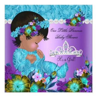 Princess Baby Shower Girl Teal Blue Purple New 13 Cm X 13 Cm Square Invitation Card
