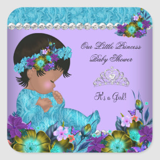 Princess Baby Shower Girl Teal Blue Purple Square Sticker