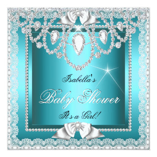 Princess Baby Shower Girl Teal Lace Diamond Card
