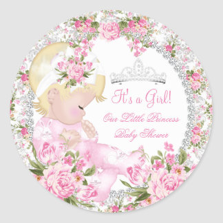 Princess Baby Shower Girl Vintage Rose Floral 3 Classic Round Sticker