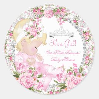 Princess Baby Shower Girl Vintage Rose Floral 3 Round Sticker