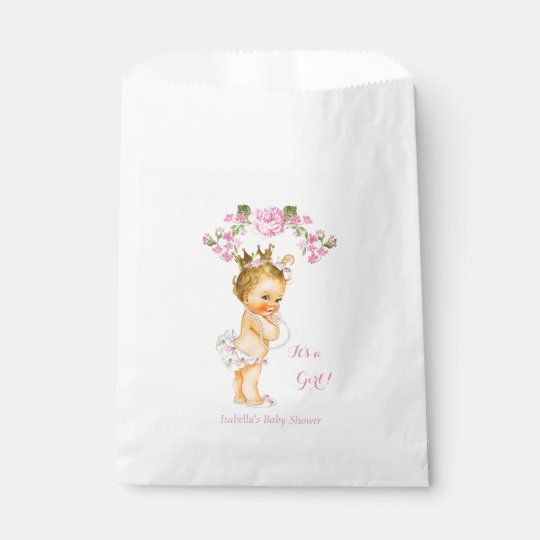 Princess Baby Shower Girl White Pink Blonde Favour