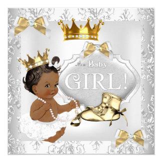 Princess Baby Shower Gold Silver Damask Ethnic 13 Cm X 13 Cm Square Invitation Card