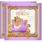 Princess Baby Shower Lilac Pink Gold Chair Blonde Card