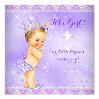 Princess Baby Shower Lilac Purple Lavender Blonde 13 Cm X 13 Cm Square Invitation Card