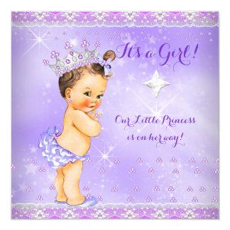 Princess Baby Shower Lilac Purple Lavender Brunett 13 Cm X 13 Cm Square Invitation Card