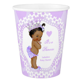 Princess Baby Shower Party Purple Heart Ethnic Paper Cup