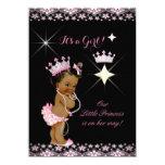 Princess Baby Shower Pink Black Tiara Ethnic 11 Cm X 16 Cm Invitation Card