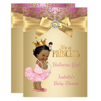 Princess Baby Shower Pink Gold Ballerina Ethnic 13 Cm X 18 Cm Invitation Card