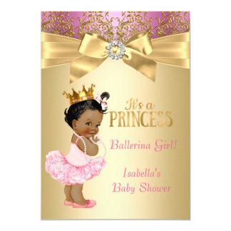 Princess Baby Shower Pink Gold Ballerina Ethnic 13 Cm X 18 Cm Invitation Card