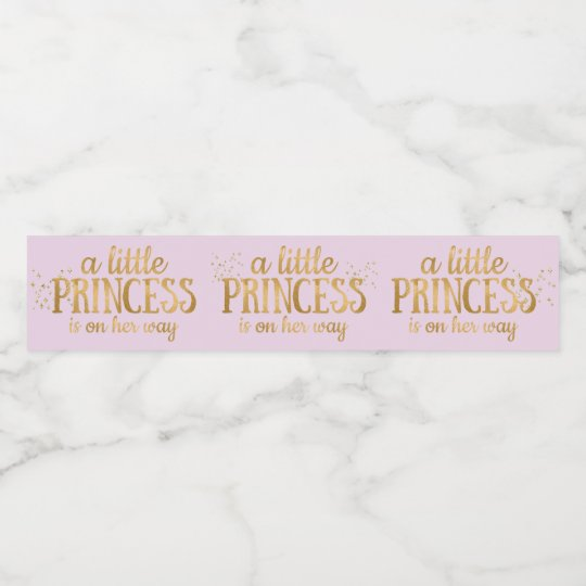Princess Baby Shower Pink Gold Foil Girl Water