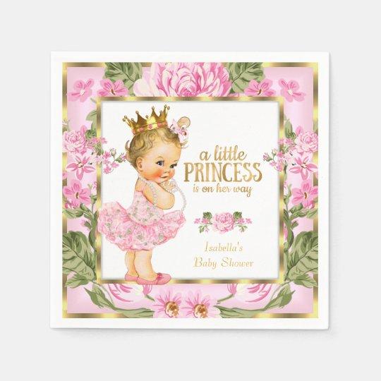 Princess Baby Shower Pink Gold Rose Floral Blonde