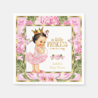 Princess Baby Shower Pink Gold Rose Floral Disposable Serviette