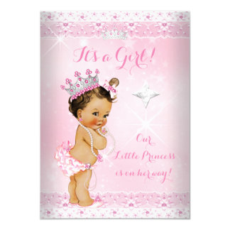 Princess Baby Shower Pink Lace Tiara Brunette Card