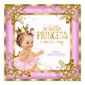 Princess Baby Shower Pink Tutu Floral Brunette Card