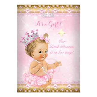 Princess Baby Shower Pink Tutu Gold Tiara Blonde 13 Cm X 18 Cm Invitation Card