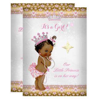 Princess Baby Shower Pink White Gold Tiara Ethnic Card