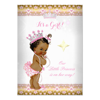 Princess Baby Shower Pink White Gold Tiara Ethnic Card