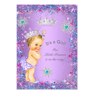 Princess Baby Shower Purple Teal Blue Pink Blonde 13 Cm X 18 Cm Invitation Card