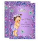 Princess Baby Shower Purple Teal Blue Pink Card
