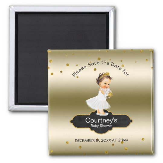 Princess Baby Shower Save the Date Elegant Gold