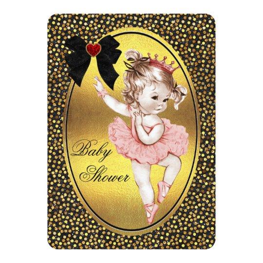 Princess Ballerina Faux Bow Foil & Glitter Shower Card