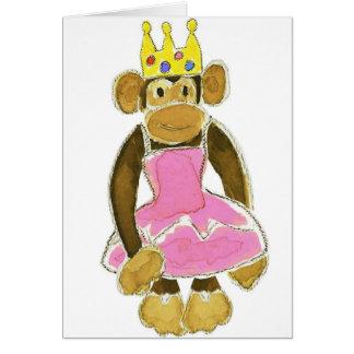 princess ballerina monkey greeting card
