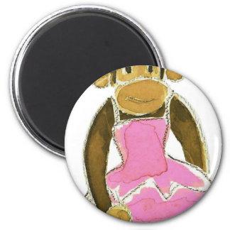 princess ballerina monkey 6 cm round magnet