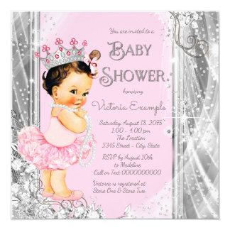 Princess Ballerina Pink Silver Baby Shower Card