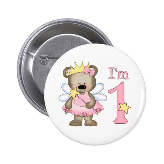 Princess Bear 1st Birthday 6 Cm Round Badge