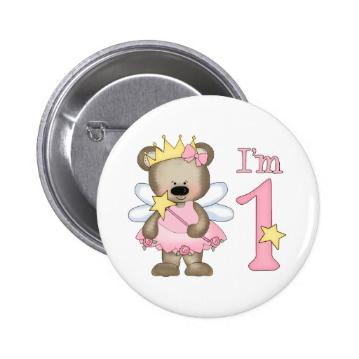 Princess Bear 1st Birthday Pinback Buttons
