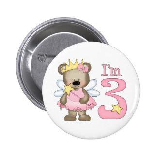 Princess Bear 3rd Birthday 6 Cm Round Badge