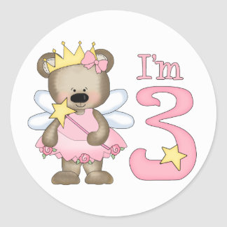 Princess Bear 3rd Birthday Round Sticker